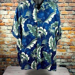 Island shores blue & green tropical shirt size XXL